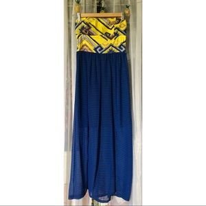 Strapless Maxi Dress with Front Slits